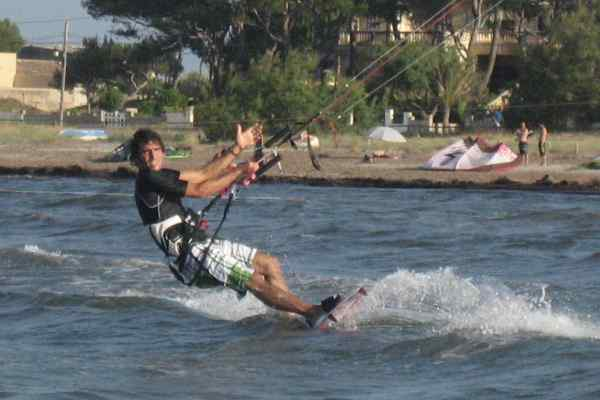 Roberto, our first student ever, kitesurfing at the homespot Sa Marina